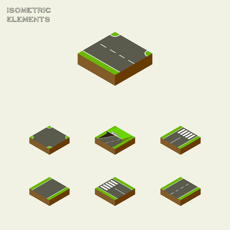 unilateral: Isometric Way Set Of Strip, Subway, Driveway And Other Vector Objects. Also Includes Strip, Subway, Intersection Elements. Illustration