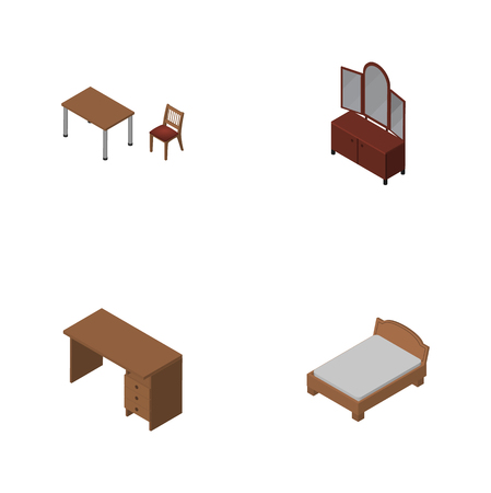 Isometric Design Set Of Drawer, Bedstead, Chair And Other Vector Objects. Also Includes Desk, Furniture, Table Elements. Illustration