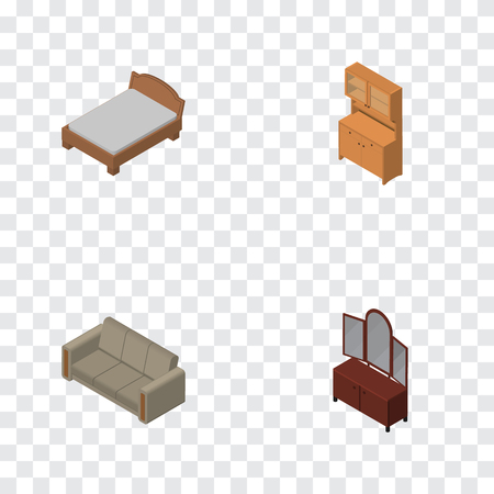 arredamento classico: Isometric Furnishing Set Of Couch, Bedstead, Drawer And Other Vector Objects. Also Includes Settee, Cupboard, Furniture Elements.
