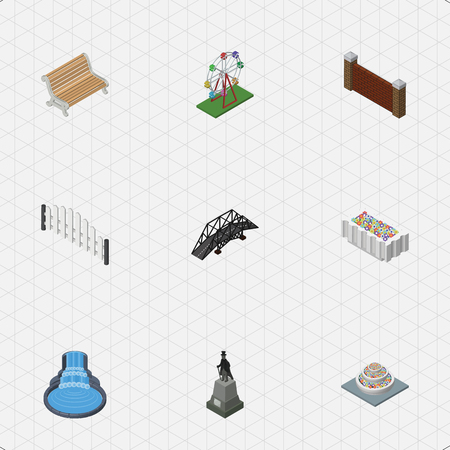 Isometric Architecture Set Of Plants, Recreation, Barrier And Other Vector Objects. Also Includes Bridge, Suspension, Statue Elements.