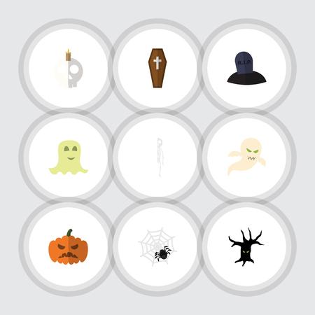 Platte pictogram Halloween Set kistje, Spinner, schedel en andere Vectorobjecten. Omvat ook beenderen, kaars, geestelementen. Stock Illustratie