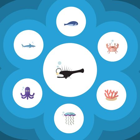 cachalot: Flat Icon Marine Set Of Cachalot, Medusa, Cancer And Other Vector Objects. Also Includes Medusa, Tentacle, Coral Elements.