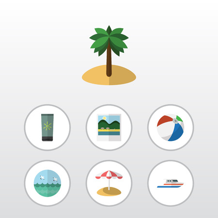 Flat Icon Beach Set Of Boat, Sphere, Ocean And Other Vector Objects. Also Includes Bird, Round, Cream Elements. Illustration