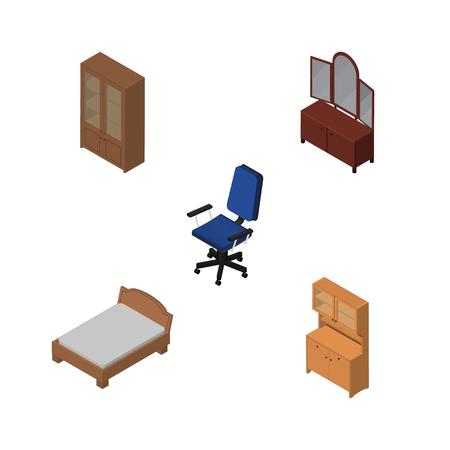 arredamento classico: Set d'arredo isometrico di ufficio, cassetto, armadio e altri oggetti vettoriali. Include anche letto, armadio, elementi di sedia. Vettoriali