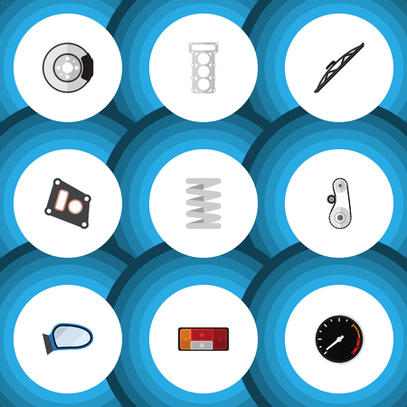tread: Flat Icon Auto Set Of Cambelt, Tachometr, Auto Component And Other Vector Objects. Also Includes Belt, Windshield, Spring Elements.