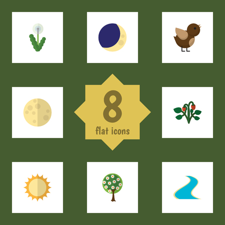 Flat Icon Ecology Set Of Lunar, Tributary, Tree And Other Vector Objects. Also Includes Fruit, Midnight, Sparrow Elements.