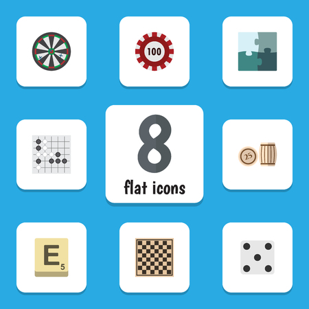 backgammon: Flat Icon Play Set Of Chess Table, Backgammon, Mahjong And Other Vector Objects. Also Includes Backgammon, Chess, Dice Elements. Illustration