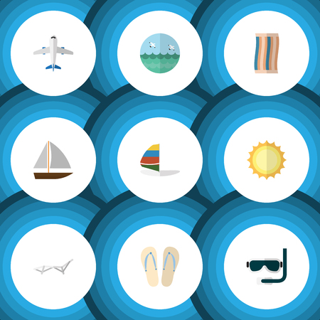 wipe: Flat Icon Beach Set Of Sunshine, Yacht, Wiper And Other Vector Objects. Also Includes Aircraft, Surfing, Towel Elements.