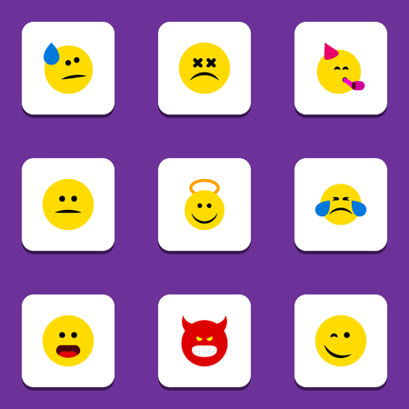 enraged: Flat Icon Face Set Of Angel, Winking, Tears And Other Vector Objects. Also Includes Angel, Sad, Happy Elements. Illustration