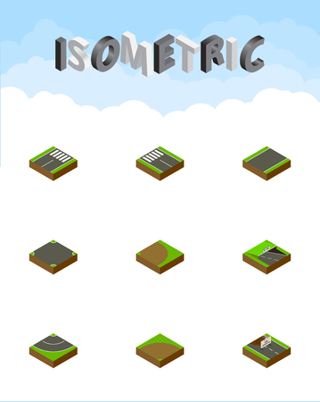 unilateral: Isometric Road Set Of Unilateral, Crossroad, Rotation And Other Vector Objects. Also Includes Turn, Unilateral, Pedestrian Elements.