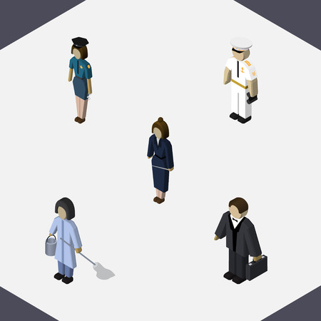 Isometric Human Set Of Seaman, Investor, Businesswoman And Other Vector Objects. Also Includes Worker, Housekeeper, Cleaner Elements. Illustration