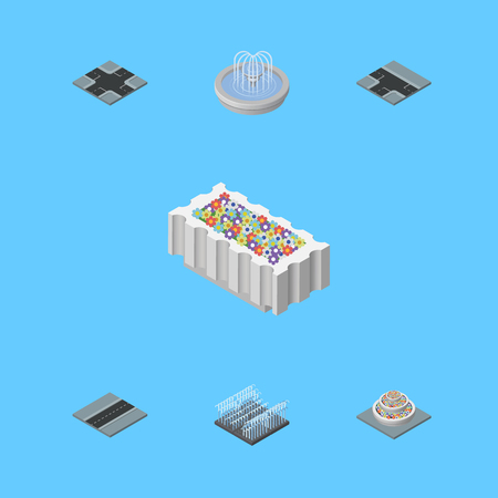 Isometric Architecture Set Of Fountain, Intersection, Flower Decoration And Other Vector Objects. Also Includes Crossroad, Intersection, Path Elements. Illustration