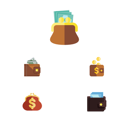 billfold: Flat Icon Purse Set Of Payment, Pouch, Saving And Other Vector Objects. Also Includes Money, Finance, Saving Elements.