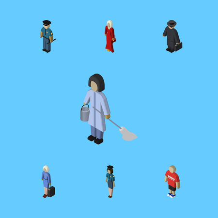 Isometric People Set Of Guy, Officer, Housemaid And Other Vector Objects. Also Includes Housekeeper, Hostess, Girl Elements.