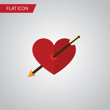 Isolated Arrow Flat Icon. Heart Vector Element Can Be Used For Arrow, Heart, Love Design Concept. Illustration