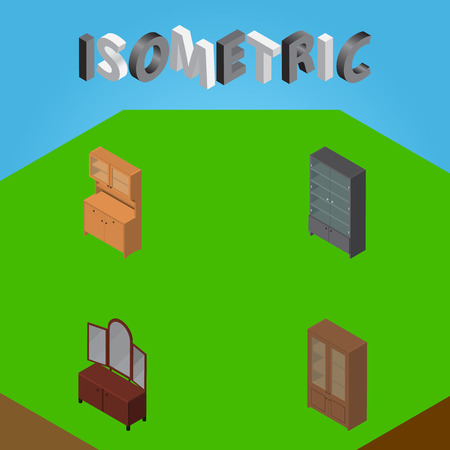 Isometric Design Set Of Sideboard, Drawer, Cupboard And Other Vector Objects. Also Includes Mirror, Cupboard, Sideboard Elements.