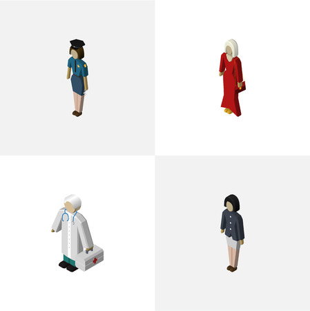 Isometric Person Set Of Female, Medic, Girl And Other Vector Objects. Also Includes Woman, Medic, Guy Elements.