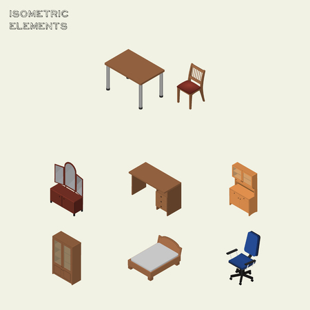 Isometric Design Set Of Office, Drawer, Table And Other Vector Objects. Also Includes Cabinet, Wardrobe, Cupboard Elements.