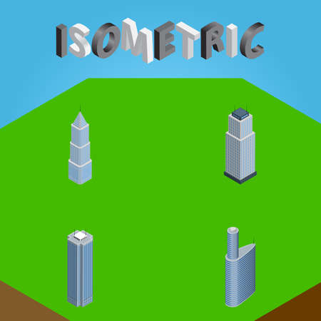 Isometric Construction Set Of Tower, Exterior, Skyscraper And Other Vector Objects. Also Includes Apartment, Skyscraper, Building Elements.
