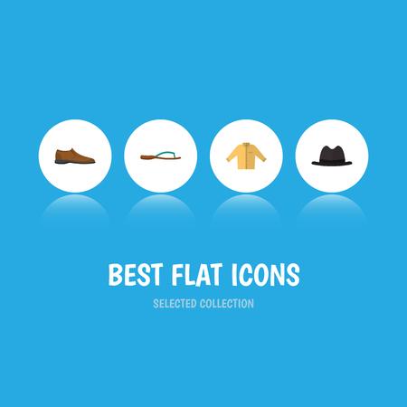 Robe icône plate Ensemble de chaussures, Banyan, Panama et autres objets vectoriels. Inclut également Fedora, Banyan, Flop Elements. Banque d'images - 81995208