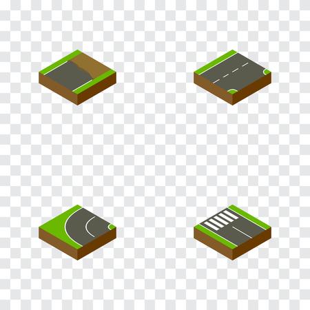 아이소 메트릭 웨이 아래로, 미완성 된, 웨이 및 다른 벡터 개체를 설정합니다. 또한 Strip, Unfinished, Road Elements를 포함합니다.