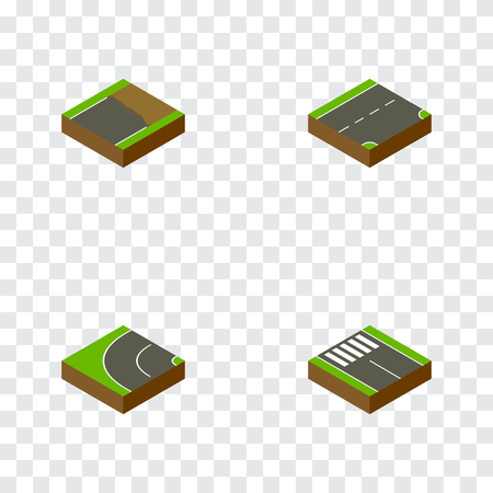 the roadside: Isometric Way Set Of Down, Unfinished, Way And Other Vector Objects. Also Includes Strip, Unfinished, Road Elements.