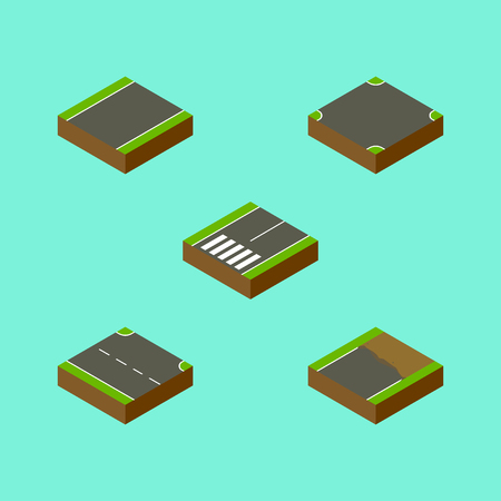 Isometric Way Set Of Rightward, Unilateral, Crossroad And Other Vector Objects. Also Includes Intersection, Incomplete, Crossroad Elements.