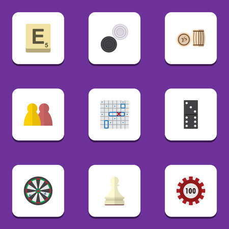 Flat Icon Entertainment Set Of Sea Fight, Chequer, Mahjong And Other Vector Objects. Also Includes Battle, Bingo, Lottery Elements.