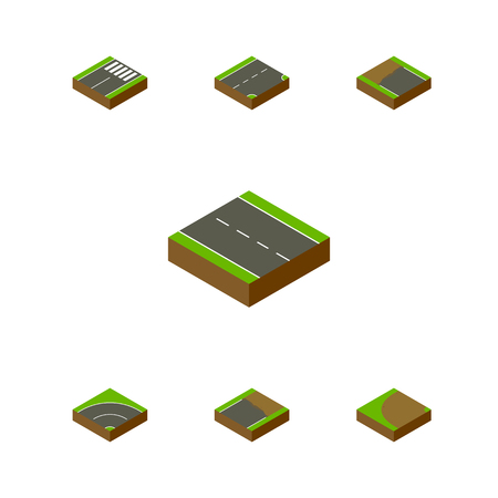 Isometric Way Set Of Turning, Footer, Down And Other Vector Objects. Also Includes Single, Footer, Bitumen Elements.