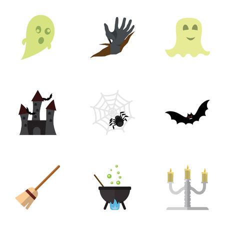 Flat Icon Festival Set Of Zombie, Phantom, Magic And Other Vector Objects. Also Includes Castle, Fortress, Cobweb Elements. Illustration