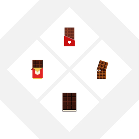 piece: Flat Icon Chocolate Set Of Wrapper, Chocolate, Chocolate Bar And Other Vector Objects. Also Includes Box, Bitter, Chocolate Elements.