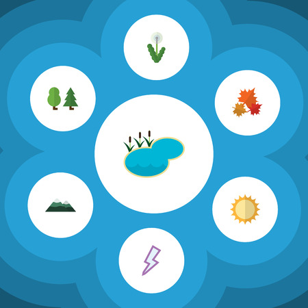 Flat Icon Ecology Set Of Canadian, Peak, Floral And Other Vector Objects. Also Includes Flower, Pond, Floral Elements.