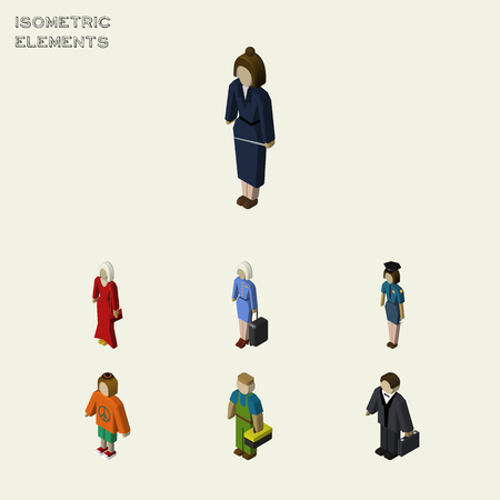 Isometric Person Set Of Hostess, Investor, Lady And Other Vector Objects. Also Includes Businesswoman, Policewoman, Girl Elements.