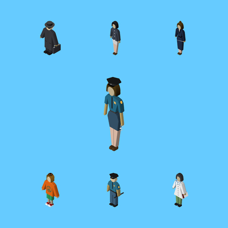 Isometric Human Set Of Officer, Businesswoman, Policewoman And Other Vector Objects. Also Includes Guy, Hippie, Nurse Elements.