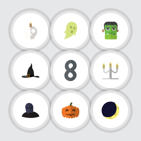undead: Flat Icon Halloween Set Of Crescent, Phantom, Gourd And Other Vector Objects. Also Includes Candle, Moon, Phantom Elements.