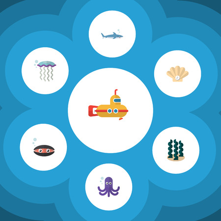 Flat Icon Marine Set Of Alga, Conch, Tentacle And Other Vector Objects. Also Includes Scallop, Seaweed, Underwater Elements.