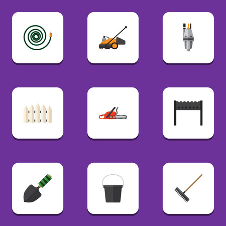 moisture: Flat Icon Garden Set Of Hacksaw, Trowel, Pump And Other Vector Objects. Also Includes Barbecue, Container, Mower Elements. Illustration