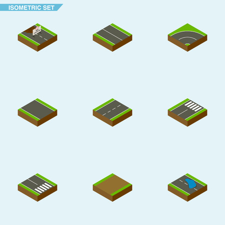 Isometric Way Set Of Driveway, Repairs, Pedestrian And Other Vector Objects. Also Includes Single, Strip, Lane Elements. Illustration