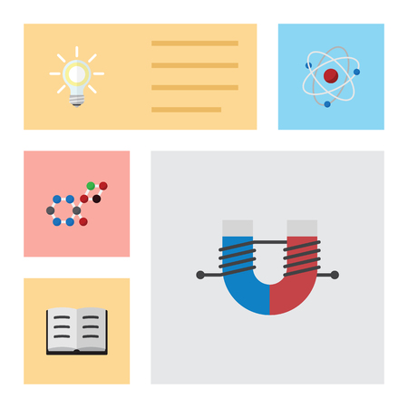 Flat Icon Knowledge Set Of Orbit, Attractive Force, Lecture And Other Vector Objects. Also Includes Molecule, Magnet, Force Elements. Illustration