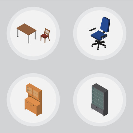 arredamento classico: Isometric Furniture Set Of Chair, Cupboard, Sideboard And Other Vector Objects. Also Includes Armchair, Table, Closet Elements.
