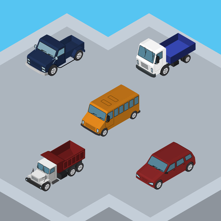 Isometric Automobile Set Of Freight, Lorry, Autobus And Other Vector Objects. Also Includes Pickup, Suv, Drive Elements.