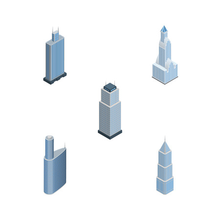 miniature: Isometric Skyscraper Set Of Business Center, Building, Exterior And Other Vector Objects. Also Includes Cityscape, Exterior, Center Elements.