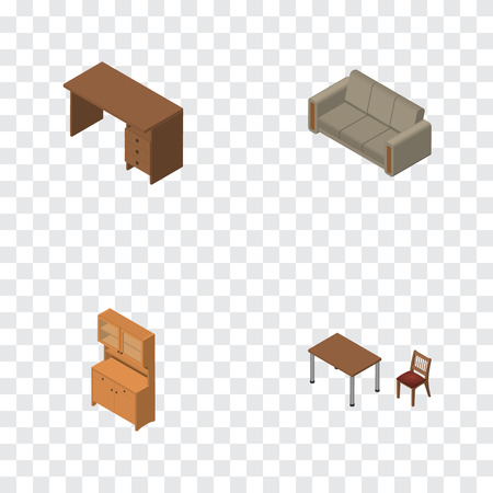 Isometric Furniture Set Of Chair, Couch, Table And Other Vector Objects. Also Includes Furniture, Wardrobe, Closet Elements.