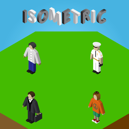 Isometric Person Set Of Male, Lady, Investor And Other Vector Objects. Also Includes Woman, Boy, Hippie Elements.