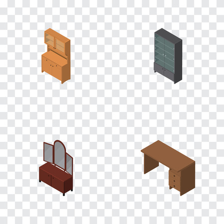 Isometric Design Set Of Cupboard, Sideboard, Table And Other Vector Objects. Also Includes Table, Sideboard, Wardrobe Elements.