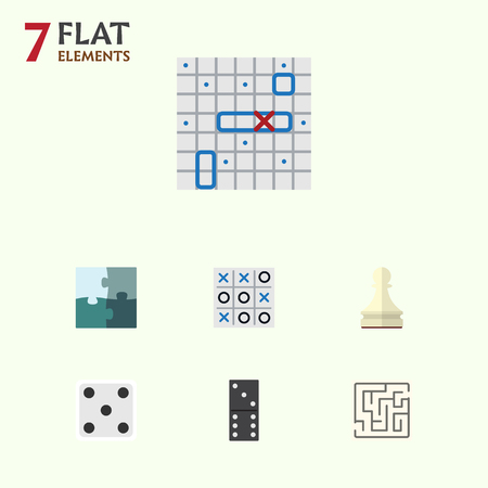 Flat Icon Games Set Of Bones Game, Labyrinth, X&O And Other Vector Objects. Also Includes Puzzle, Toe, Bones Elements. Illustration