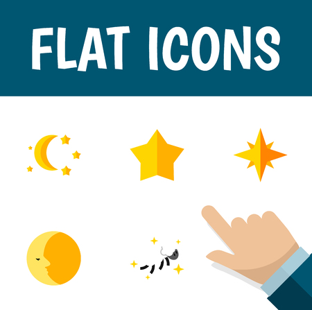 moonshine: Flat Icon Bedtime Set Of Night, Bedtime, Starlet And Other Vector Objects. Also Includes Lunar, Sky, Star Elements. Illustration