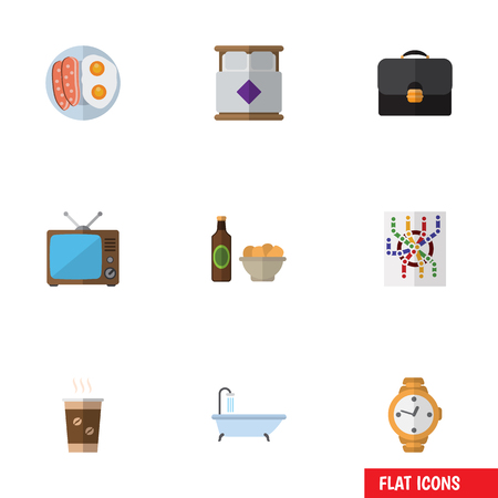 bathe mug: Flat Icon Lifestyle Set Of Router, Beer With Chips, Mattress And Other Vector Objects. Also Includes Beer, Bedroom, Coffee Elements.