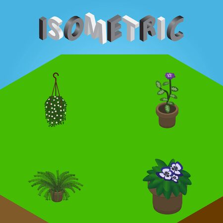 Isometric Plant Set Of Plant, Flower, Flowerpot And Other Vector Objects. Also Includes Flower, Hanging, Pot Elements.