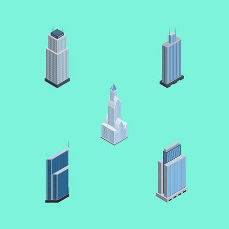 Isometric Skyscraper Set Of Tower, Business Center, Residential And Other Vector Objects. Also Includes Center, Urban, Skyscraper Elements.